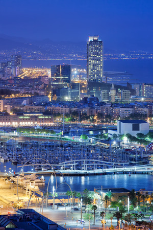 rambla: City of Barcelona at night in Catalonia, Spain, view from above over Rambla de Mar and Port Vell. Stock Photo