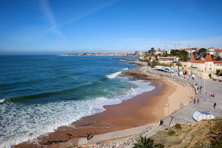 seaside resort: Resort town of Estoril in Portugal, beach on the Atlantic Ocean and seaside promenade.