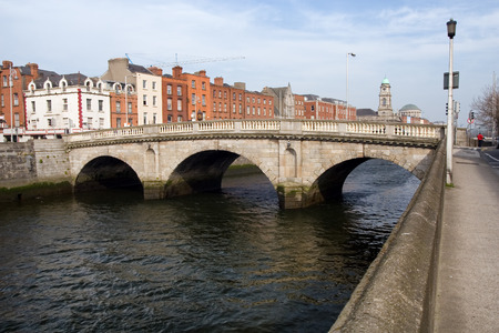 liffey: Mellows Bridge over river Liffey in the city of Dublin in Ireland.