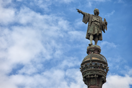 Top of the Columbus Monument (Mirador de Colom) in Barcelona, Catalonia, Spain. Bronze statue by Rafael Atche. photo