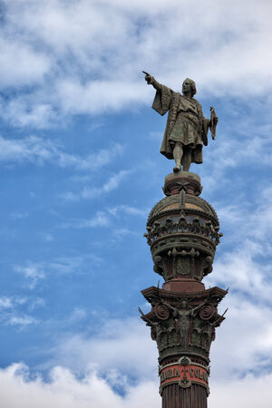 christopher columbus: Top of the Columbus Monument (Mirador de Colom) in Barcelona, Catalonia, Spain. Bronze statue by Rafael Atche.