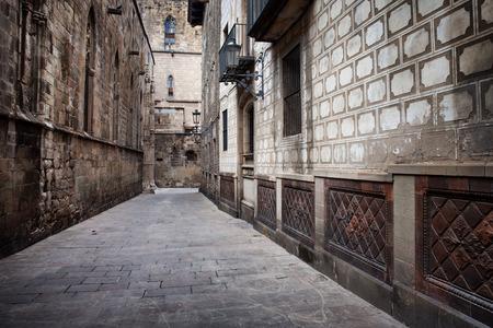 Gothic Quarter  Barri Gotic  historic architecture in the Old City of Barcelona in Catalonia, Spain  photo