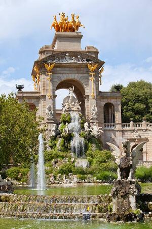 The Cascada triumphal arch with waterfall and fountain in Parc de la Ciutadella in Barcelona, Catalonia, Spain  photo