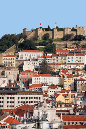 jorge: City of Lisbon with Castle of Sao Jorge on top of a hill in Portugal.
