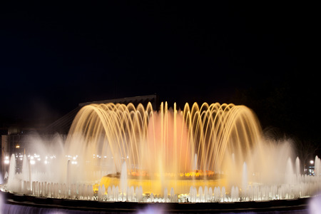 laser show: Magic Fountain music and light show at night in Barcelona, Catalonia, Spain.
