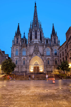 Barcelona Cathedral in the evening, Gothic Quarter (Barri Gotic) of the city, Catalonia, Spain.