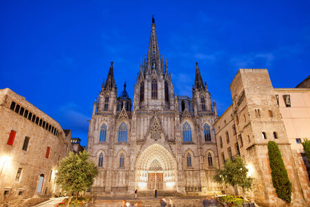 barcelona cathedral: Barcelona Cathedral at night, Gothic Quarter (Barri Gotic) of the city, Catalonia, Spain. Stock Photo