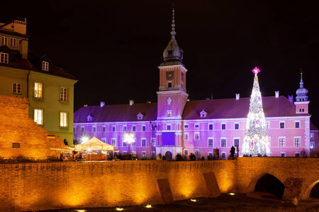 Royal Palace in the Old Town of Warsaw, Poland, during Christmas Time. photo