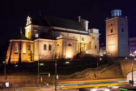 anne: St Anne Church at night in Warsaw, Poland.