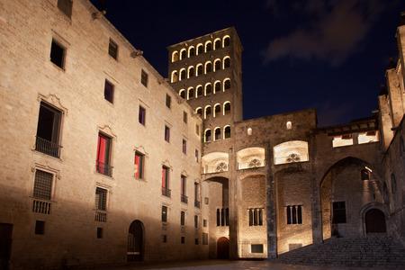 rei: Torre Mirador and Palau del Lloctinent at Placa del Rei at night in Barcelona, Catalonia, Spain.