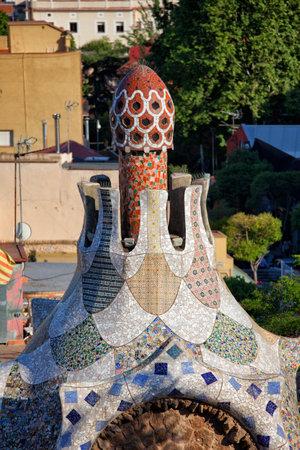 porter house: Casa del Guarda architectural details by Antoni Gaudi in Park Guell, Barcelona, Catalonia, Spain.