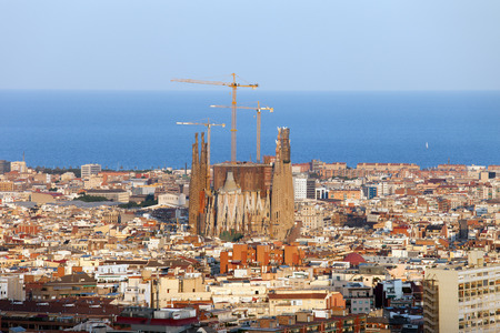 City of Barcelona from above at sunset in Catalonia, Spain.