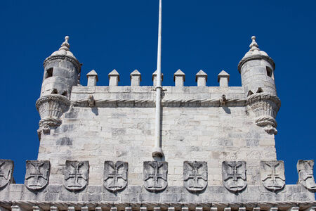 templars: Battlements of an early 16th century Belem Tower with crosses of the Order of Christ in Lisbon, Portugal. Editorial