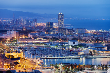 City of Barcelona at night in Catalonia, Spain. photo