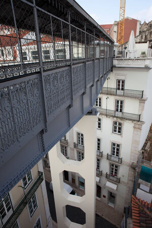 justa: Footbridge of the Santa Justa Lift in Lisbon, Portugal. Stock Photo