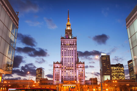 popular science: Palace of Culture and Science in the evening, city center of Warsaw in Poland.