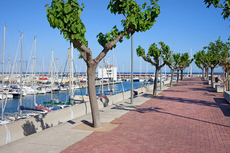 Promenade along Port Olimpic marina in Barcelona, Catalonia, Spain.