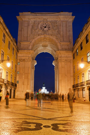augusta: Rua Augusta Arch and street at night in Lisbon, Portugal. Stock Photo