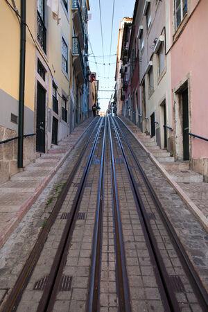 elevador: Bica funicular rails in the city of Lisbon, Portugal.