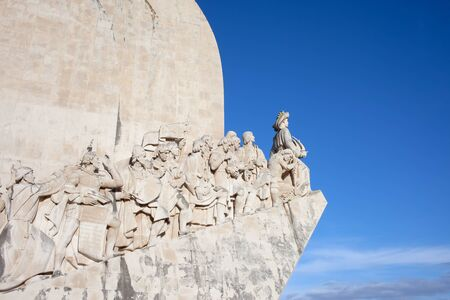 discoveries: Western side of the Monument to the Discoveries (Padrao dos Descobrimentos) by the Tagus River in Belem district of Lisbon in Portugal.