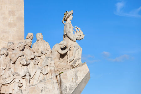 henry: Closeup on western side of the Monument to the Discoveries (Padrao dos Descobrimentos) by the Tagus River in Belem district of Lisbon in Portugal.