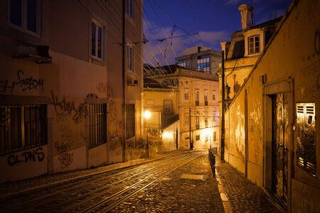 gloria: Calcada da Gloria street at night in Lisbon, Portugal. Stock Photo