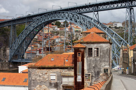 Dom Luis I Bridge in historic city centre of Porto in Portugal. photo