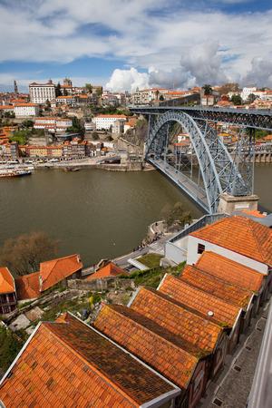 Porto in Portugal, Dom Luis I Bridge over Douro river, historic city centre. photo
