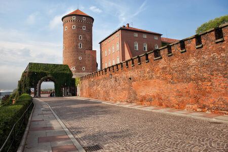 fortify: Medieval architecture of Sandomierska Tower and Wawel Castle wall in Krakow, Poland. Editorial