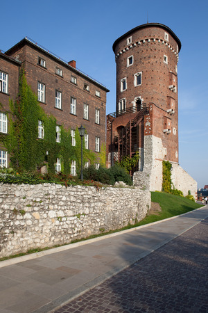 sights: Sandomierska Tower of the Royal Wawel Castle fortifications in Krakow, Poland. Artillery tower, built around 1460. Editorial
