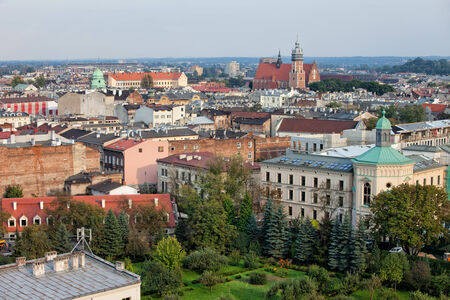 jewish houses: City of Krakow in Poland, view from above over Kazimierz and Stradom districts.