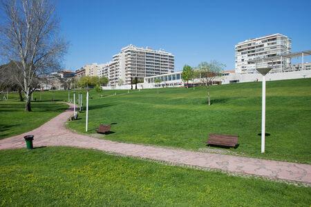 city park skyline: City skyline of Almada in Portugal , view from Urban Park Commander Julio Ferraz.