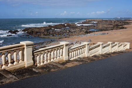 balustrade: Classic style balustrade along path leading to the beach in Foz district of Porto in Portugal. Stock Photo
