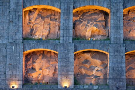niches: Lit up niches of the Augustinian monastery of Serra do Pilar in Vila Nova de Gaia, Portugal. Stock Photo