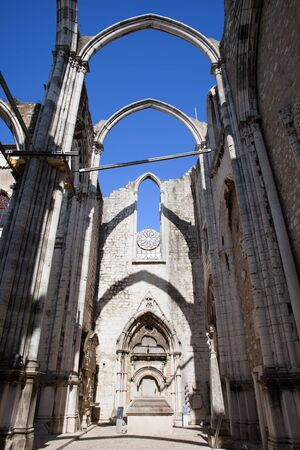 carmo: Lisbon, Portugal, ruins of the 14th-15th century Gothic church Igreja do Carmo, damaged by the earthquake in 1755.