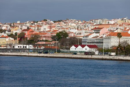 chiado: City of Lisbon skyline in Portugal, river view.