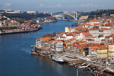 oporto: Oporto, Porto, Portugal, historic city centre along river Douro.