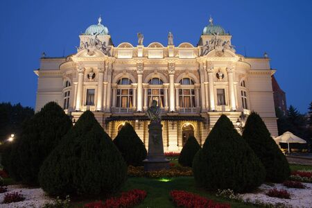 eclectic: Juliusz Slowacki Theatre by night in Krakow Poland Eclectic style 19th century architecture.