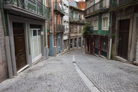 old houses: City of Oporto in Portugal street and houses in the Old Town.