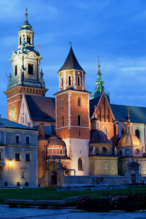 national historic site: The Wawel Royal Cathedral (Polish: Katedra Wawelska, na Wawelu) by night in Krakow, Poland, city landmark dating back to the 11th century. Editorial