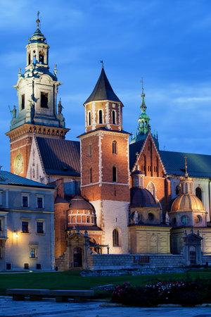 11th century: The Wawel Royal Cathedral (Polish: Katedra Wawelska, na Wawelu) by night in Krakow, Poland, city landmark dating back to the 11th century. Editorial