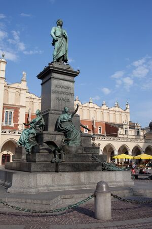 main market: Poland, Krakow, Adam Mickiewicz Monument on Main Market Square in the Old Town
