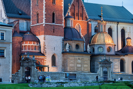 sanctuary: The Wawel Royal Cathedral (Polish: Katedra Wawelska, na Wawelu) by night in Krakow, Poland, city landmark dating back to the 11th century. Stock Photo