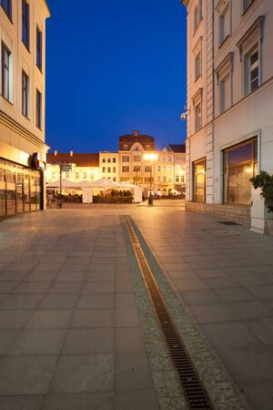 residential market: Old Town of Bydgoszcz by night in Poland, view towards Market Square.