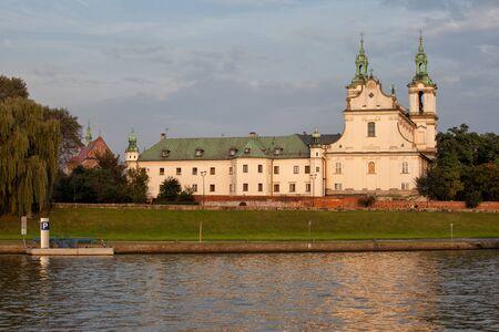 Pauline Church on the Rock in Krakow, Poland, Vistula River on the first plan.