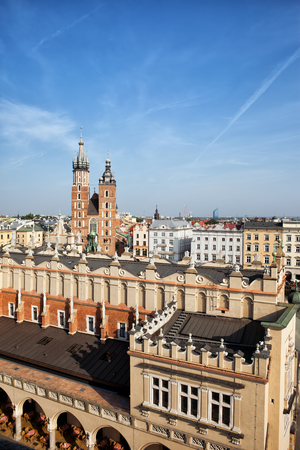 tenement: City of Krakow in Poland, Old Town skyline with Cloth Hall (Sukiennice), tenement houses and St. Mary Church.