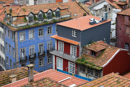 tenement buildings: Traditional Portuguese houses in the Old Town of Porto in Portugal. Stock Photo