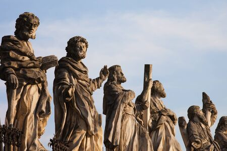 peter: Sculptures of saints at Church of the Apostles St. Peter and Paul in Old Town of Krakow in Poland.