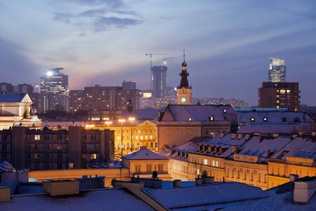 warszawa:  cityscape at twilight, capital city of Poland in winter. Editorial