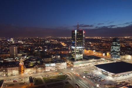 warszawa: Poland, Warsaw, city centre at night from above, Central Train Station (Warszawa Centralna) on bottom right